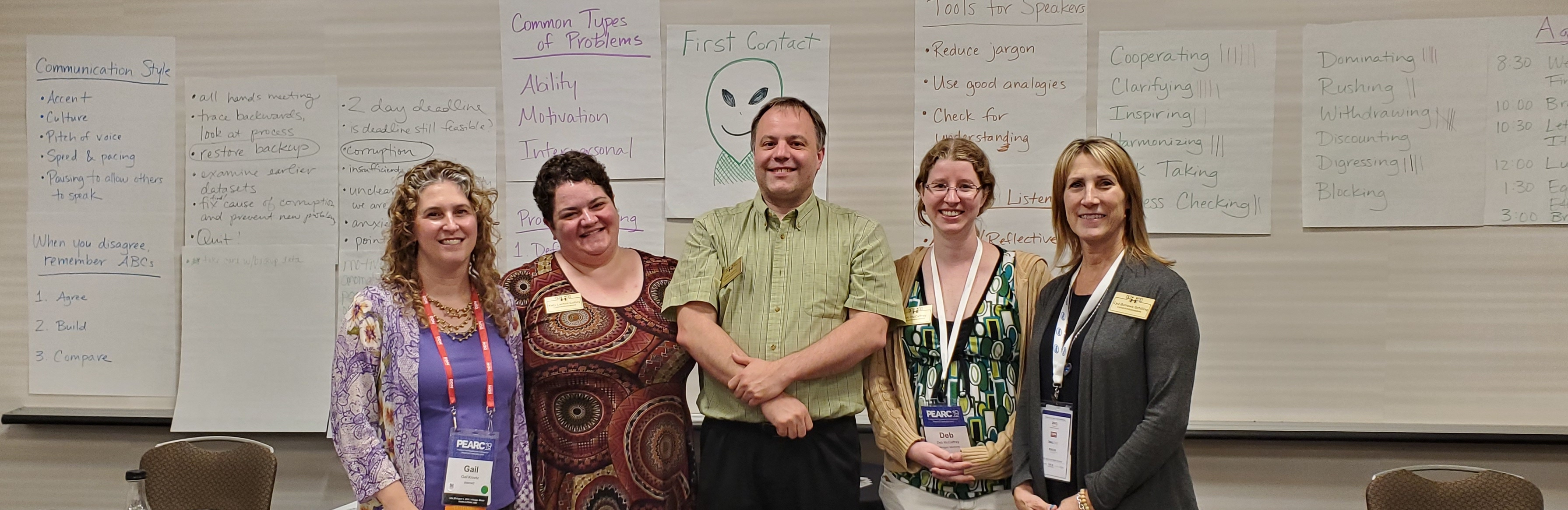 Picture of PEARC Tutorial Facilitators, from left to right; Gail Krovitz, Katy Colbry, Dirk Colbry, Deb McCaffrey, Cyd Burrows